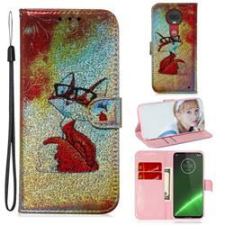 Glasses Fox Laser Shining Leather Wallet Phone Case for Motorola Moto G7 / G7 Plus