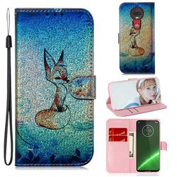 Cute Fox Laser Shining Leather Wallet Phone Case for Motorola Moto G7 / G7 Plus