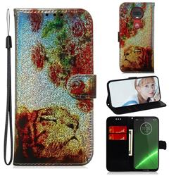 Tiger Rose Laser Shining Leather Wallet Phone Case for Motorola Moto G7 / G7 Plus