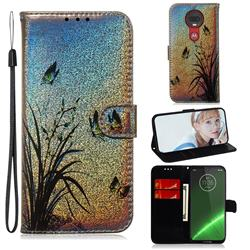 Butterfly Orchid Laser Shining Leather Wallet Phone Case for Motorola Moto G7 / G7 Plus