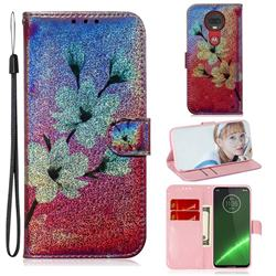 Magnolia Laser Shining Leather Wallet Phone Case for Motorola Moto G7 / G7 Plus