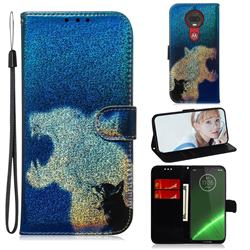 Cat and Leopard Laser Shining Leather Wallet Phone Case for Motorola Moto G7 / G7 Plus
