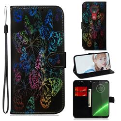 Black Butterfly Laser Shining Leather Wallet Phone Case for Motorola Moto G7 / G7 Plus