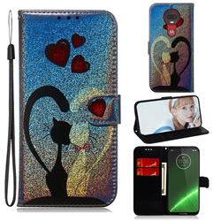Love Cat Laser Shining Leather Wallet Phone Case for Motorola Moto G7 / G7 Plus