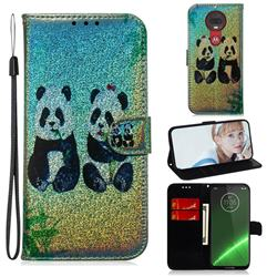 Two Pandas Laser Shining Leather Wallet Phone Case for Motorola Moto G7 / G7 Plus