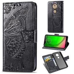 Embossing Mandala Flower Butterfly Leather Wallet Case for Motorola Moto G7 / G7 Plus - Black