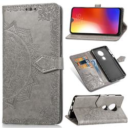 Embossing Imprint Mandala Flower Leather Wallet Case for Motorola Moto G7 / G7 Plus - Gray