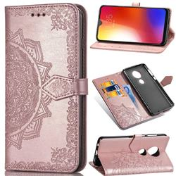 Embossing Imprint Mandala Flower Leather Wallet Case for Motorola Moto G7 / G7 Plus - Rose Gold