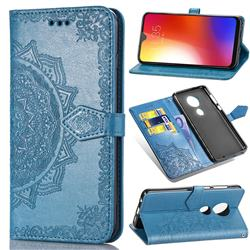 Embossing Imprint Mandala Flower Leather Wallet Case for Motorola Moto G7 / G7 Plus - Blue