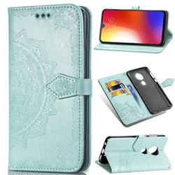 Embossing Imprint Mandala Flower Leather Wallet Case for Motorola Moto G7 / G7 Plus - Green