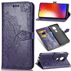 Embossing Imprint Mandala Flower Leather Wallet Case for Motorola Moto G7 / G7 Plus - Purple