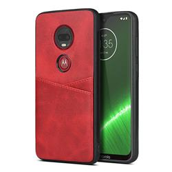 Simple Calf Card Slots Mobile Phone Back Cover for Motorola Moto G7 / G7 Plus - Red