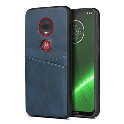 Simple Calf Card Slots Mobile Phone Back Cover for Motorola Moto G7 / G7 Plus - Blue