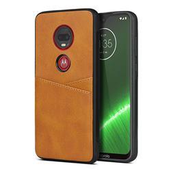 Simple Calf Card Slots Mobile Phone Back Cover for Motorola Moto G7 / G7 Plus - Yellow