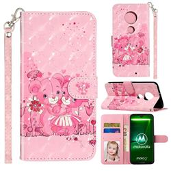 Pink Bear 3D Leather Phone Holster Wallet Case for Motorola Moto G7 / G7 Plus