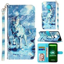 Snow Wolf 3D Leather Phone Holster Wallet Case for Motorola Moto G7 / G7 Plus