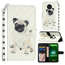 Pug Dog 3D Leather Phone Holster Wallet Case for Motorola Moto G7 / G7 Plus