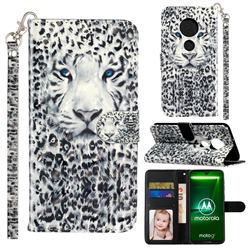 White Leopard 3D Leather Phone Holster Wallet Case for Motorola Moto G7 / G7 Plus