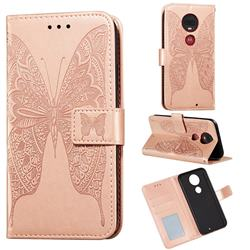 Intricate Embossing Vivid Butterfly Leather Wallet Case for Motorola Moto G7 / G7 Plus - Rose Gold