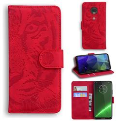 Intricate Embossing Tiger Face Leather Wallet Case for Motorola Moto G7 / G7 Plus - Red