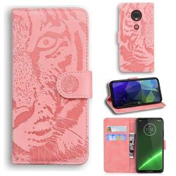 Intricate Embossing Tiger Face Leather Wallet Case for Motorola Moto G7 / G7 Plus - Pink