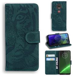 Intricate Embossing Tiger Face Leather Wallet Case for Motorola Moto G7 / G7 Plus - Green
