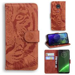 Intricate Embossing Tiger Face Leather Wallet Case for Motorola Moto G7 / G7 Plus - Brown