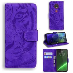 Intricate Embossing Tiger Face Leather Wallet Case for Motorola Moto G7 / G7 Plus - Purple