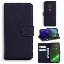 Retro Classic Skin Feel Leather Wallet Phone Case for Motorola Moto G7 / G7 Plus - Black