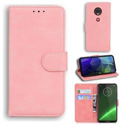 Retro Classic Skin Feel Leather Wallet Phone Case for Motorola Moto G7 / G7 Plus - Pink