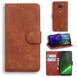 Retro Classic Skin Feel Leather Wallet Phone Case for Motorola Moto G7 / G7 Plus - Brown