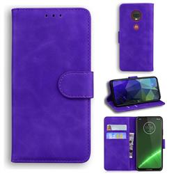 Retro Classic Skin Feel Leather Wallet Phone Case for Motorola Moto G7 / G7 Plus - Purple