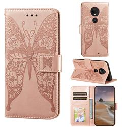Intricate Embossing Rose Flower Butterfly Leather Wallet Case for Motorola Moto G7 / G7 Plus - Rose Gold