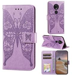 Intricate Embossing Rose Flower Butterfly Leather Wallet Case for Motorola Moto G7 / G7 Plus - Purple