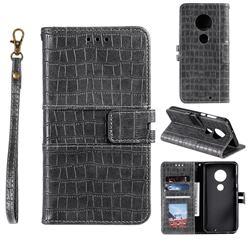 Luxury Crocodile Magnetic Leather Wallet Phone Case for Motorola Moto G7 / G7 Plus - Gray