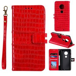 Luxury Crocodile Magnetic Leather Wallet Phone Case for Motorola Moto G7 / G7 Plus - Red