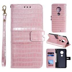 Luxury Crocodile Magnetic Leather Wallet Phone Case for Motorola Moto G7 / G7 Plus - Rose Gold