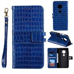 Luxury Crocodile Magnetic Leather Wallet Phone Case for Motorola Moto G7 / G7 Plus - Blue