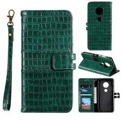 Luxury Crocodile Magnetic Leather Wallet Phone Case for Motorola Moto G7 / G7 Plus - Green