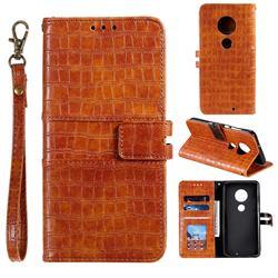 Luxury Crocodile Magnetic Leather Wallet Phone Case for Motorola Moto G7 / G7 Plus - Brown