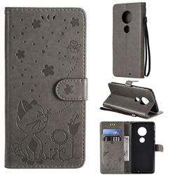 Embossing Bee and Cat Leather Wallet Case for Motorola Moto G7 / G7 Plus - Gray