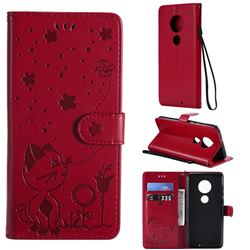 Embossing Bee and Cat Leather Wallet Case for Motorola Moto G7 / G7 Plus - Red