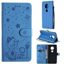 Embossing Bee and Cat Leather Wallet Case for Motorola Moto G7 / G7 Plus - Blue