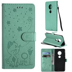 Embossing Bee and Cat Leather Wallet Case for Motorola Moto G7 / G7 Plus - Green