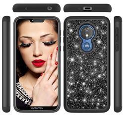 Glitter Rhinestone Bling Shock Absorbing Hybrid Defender Rugged Phone Case Cover for Motorola Moto G7 Power - Black