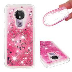 Dynamic Liquid Glitter Quicksand Sequins TPU Phone Case for Motorola Moto G7 Power - Rose