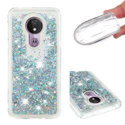 Dynamic Liquid Glitter Quicksand Sequins TPU Phone Case for Motorola Moto G7 Power - Silver