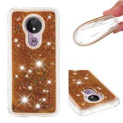 Dynamic Liquid Glitter Quicksand Sequins TPU Phone Case for Motorola Moto G7 Power - Golden