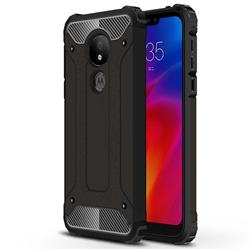 King Kong Armor Premium Shockproof Dual Layer Rugged Hard Cover for Motorola Moto G7 Power - Black Gold