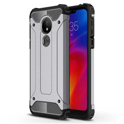 King Kong Armor Premium Shockproof Dual Layer Rugged Hard Cover for Motorola Moto G7 Power - Silver Grey